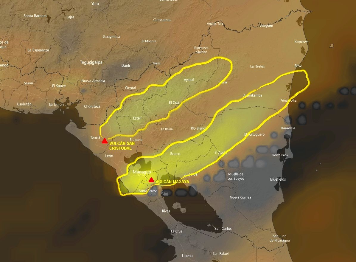 Emissions de dioxyde de soufre par le Masaya et le San Cristobal en direction des Caraïbes - doc. geografia de Nicaragua 28.10.2017