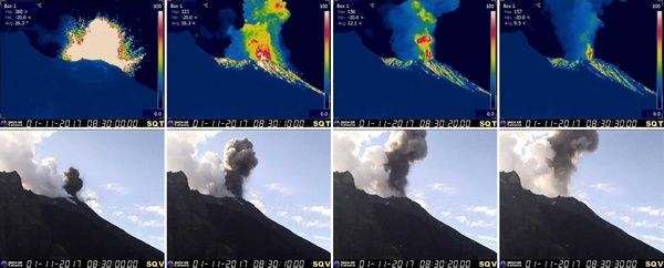 Stromboli - 01.11.2017 / 8.30am - Initial phases of the explosive sequence taken by thermal (SQT) and visible (SQV) cameras at altitude 400. - Doc INGV Catania