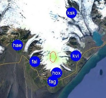 Operational seismic stations around Öræfajökull - Doc. IMO