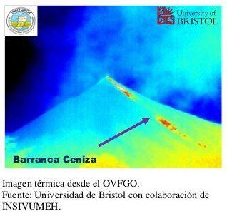 Fuego - image thermique de la coulée en direction de la barranca Ceniza - Doc. Insivumeh / Univ.Bristol