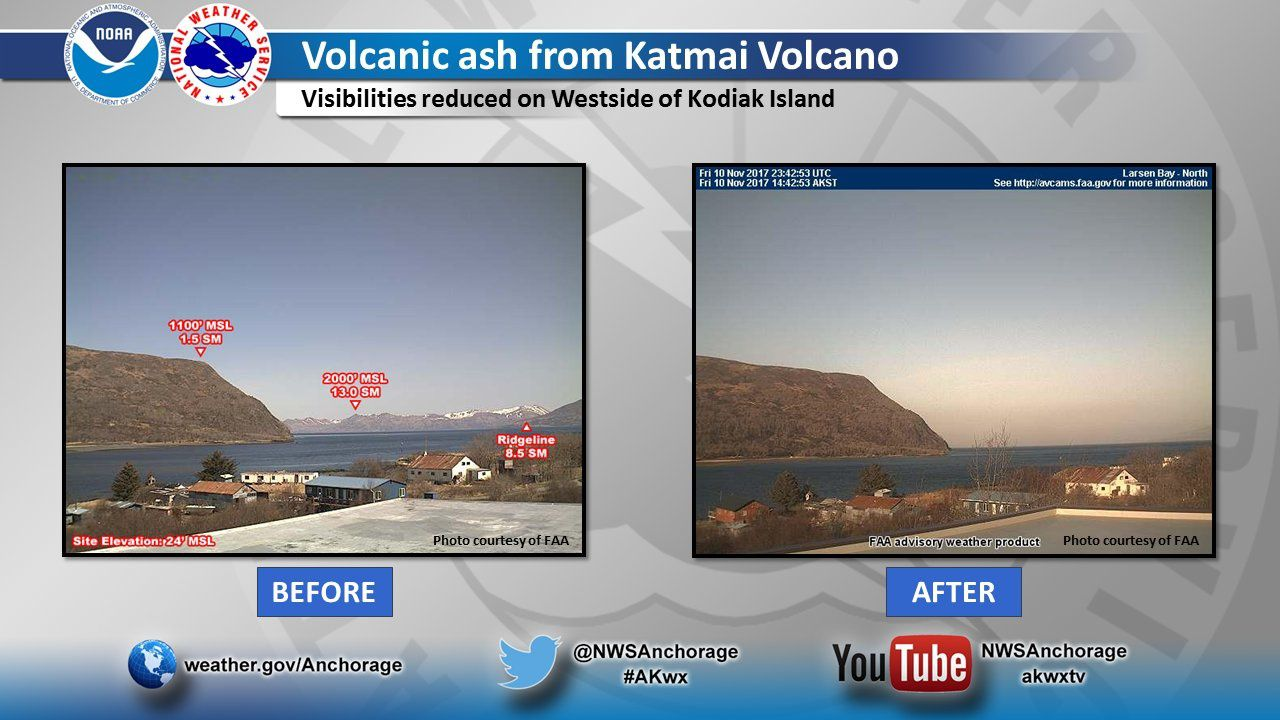 The ashes of Katmai remobilized views of Kodiak Island on 10.11.2017 / 14:42 local (right image) - Doc. NOAA NWS