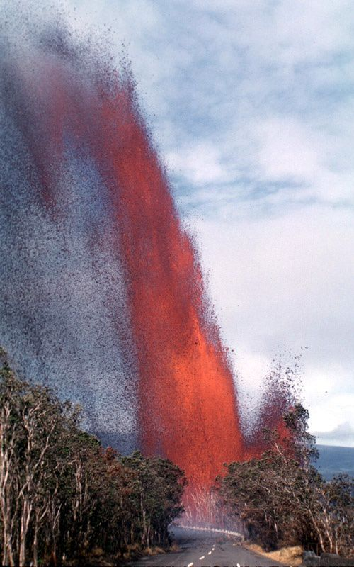 Kilauea Iki / 1959 eruption - 3rd episode lava fountain above Crater rim Drive road; fragments of lava are propelled to 425 m in height. - USGS / HVO photo