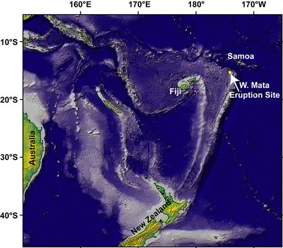 Location of West Mata seamount in the Lau Basin