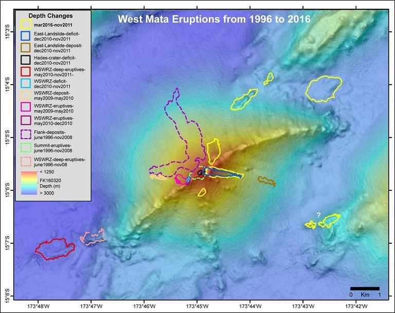 Map of West Mata showing areas of depth change due to eruptions between two bathymetries over the last two decades - map modified from Embley & al. / Susan Merle / Schmidt Ocean Institute