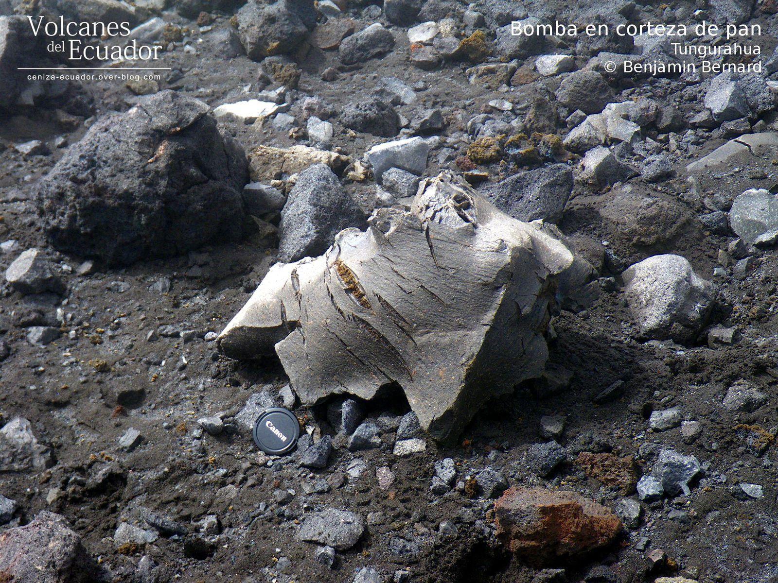 Tungurahua - bombe en croûte de pain - photo Benjamin Bernard / Volcanes del Ecuador