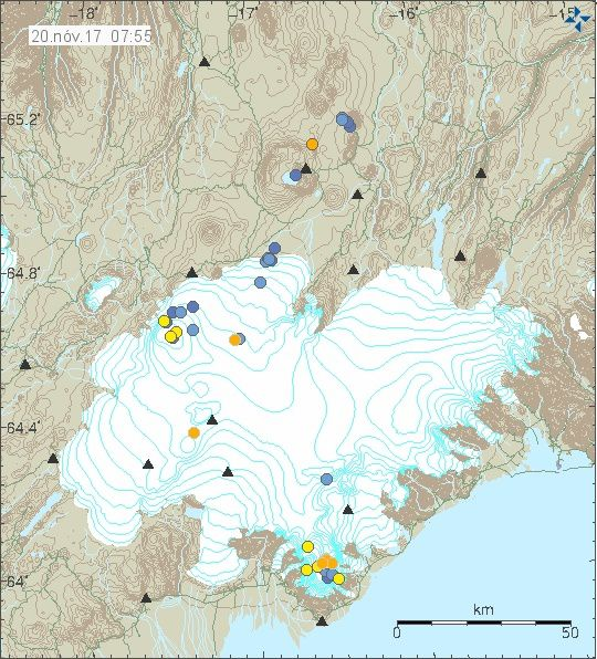 Seismicity under Vatnajökull, with small earthquakes under Bardarbunga and Öraefajökull of Magnitude near max M1 - doc. 20.11.2017 / 7:55 am / IMO