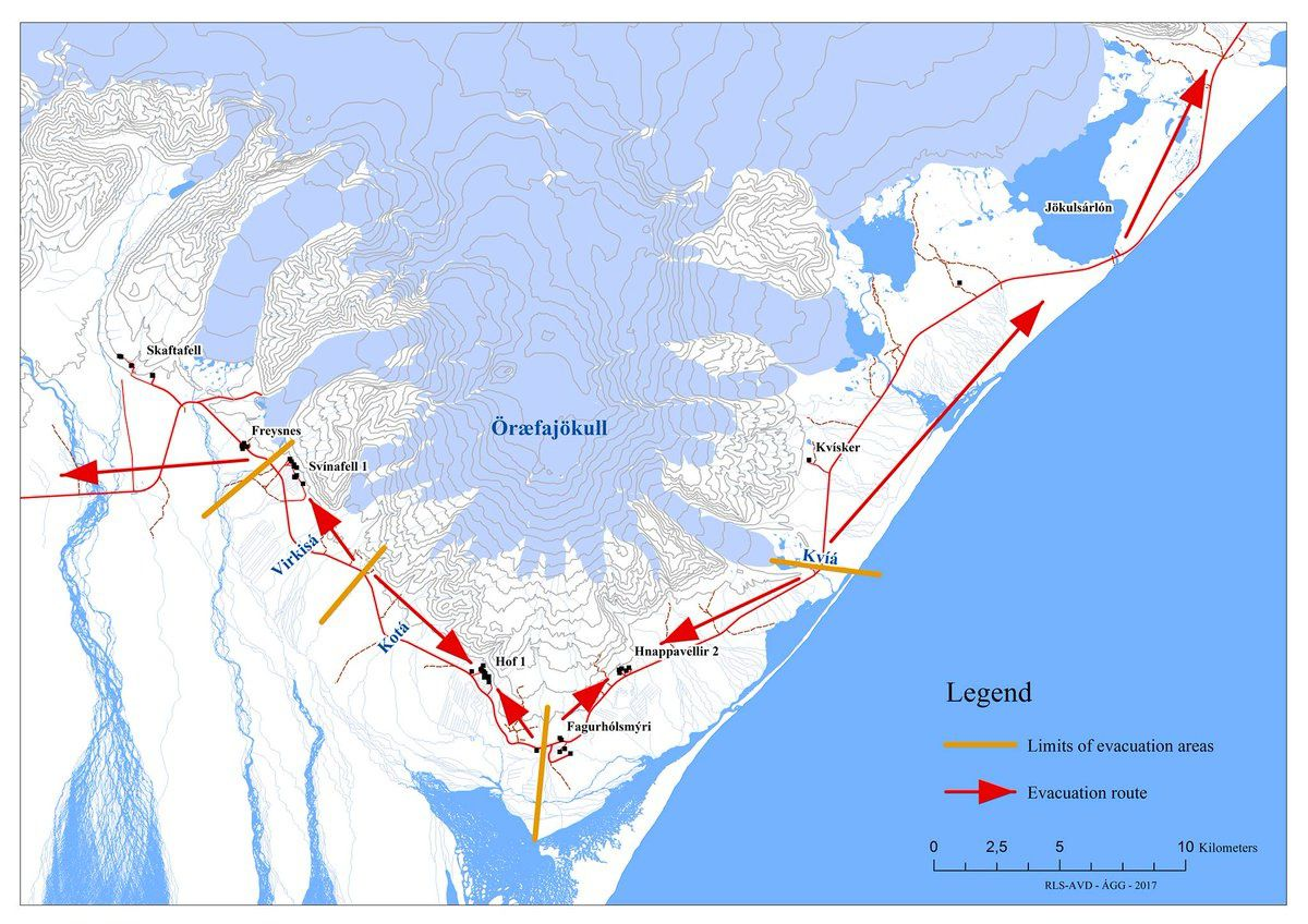 Öræfajökull - map of sites to be reached in case of emergency evacuation - RLS - AVD- AGG 2017