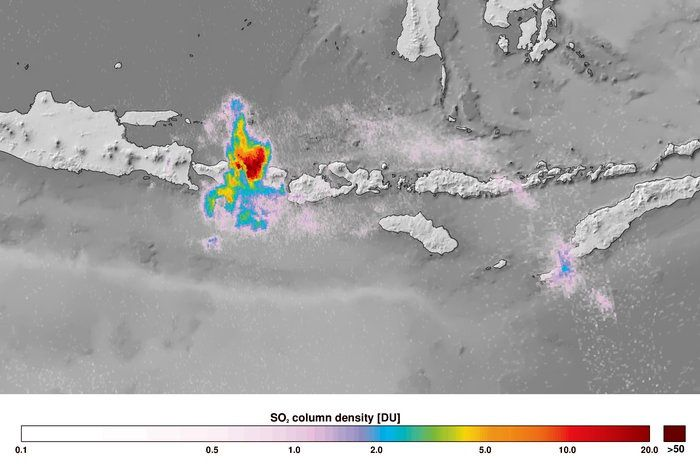 Agung - SO2 emission registered on 27.11.2017 by Sentinel 5P - broadcast ESA 01.12.2017