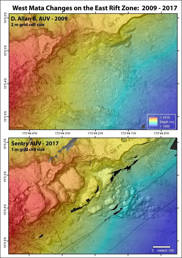 West Mata - évolution morphologique de la zone de rift Est entre 2009 et 2017 - à noter la différence de résolution et de précision des images - Doc Schmidt Ocean Institute