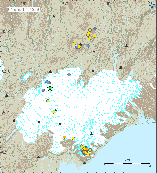 Seismicity at the Öræfajökull - 04.12.2017 / 13h50 and 05.12.2017 / 15h10 - Doc. IMO