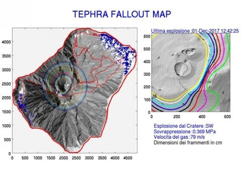 Stromboli - map of tephra fallout following the explosive eruption of 01.12.2017 - doc.LGS