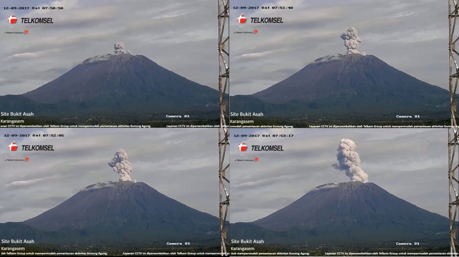 Agung - eruptive episode from 09.12.2017 between 7h50 and 7h53 - webcam TelkomselTelkomsel