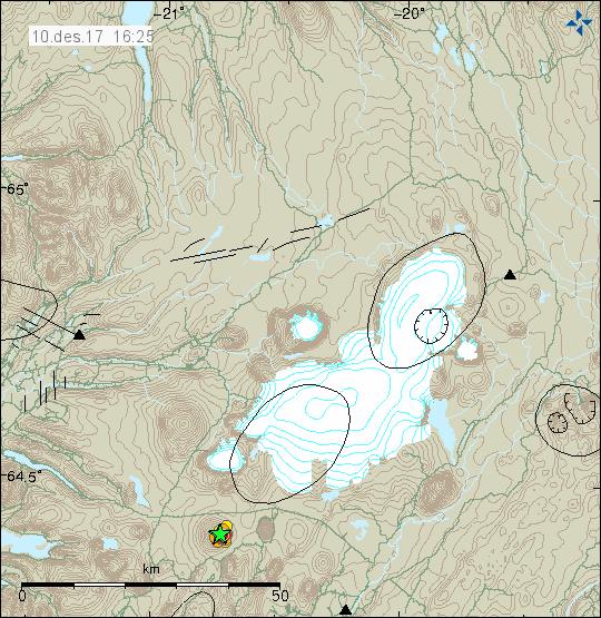 Essaim sismique au  Skjaldbreidur 10.12.2017 / à 16h25 - Doc. IMO
