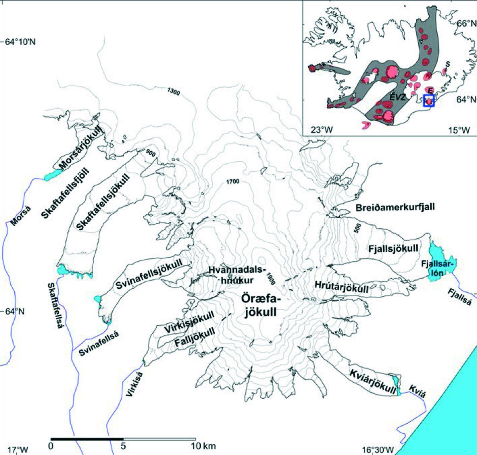 La couverture glaciaire et les glaciers exutoires de l'Öraefajökull - doc. Removing the ice cap of Öræfajökull central volcano, SE-Iceland: Mapping and interpretation of bedrock topography, ice volumes, subglacial troughs and implications for hazards assessments Eyjólfur Magnússon, Finnur Pálsson , Helgi Björnsson and Snævarr Guðmundsson  - 2014