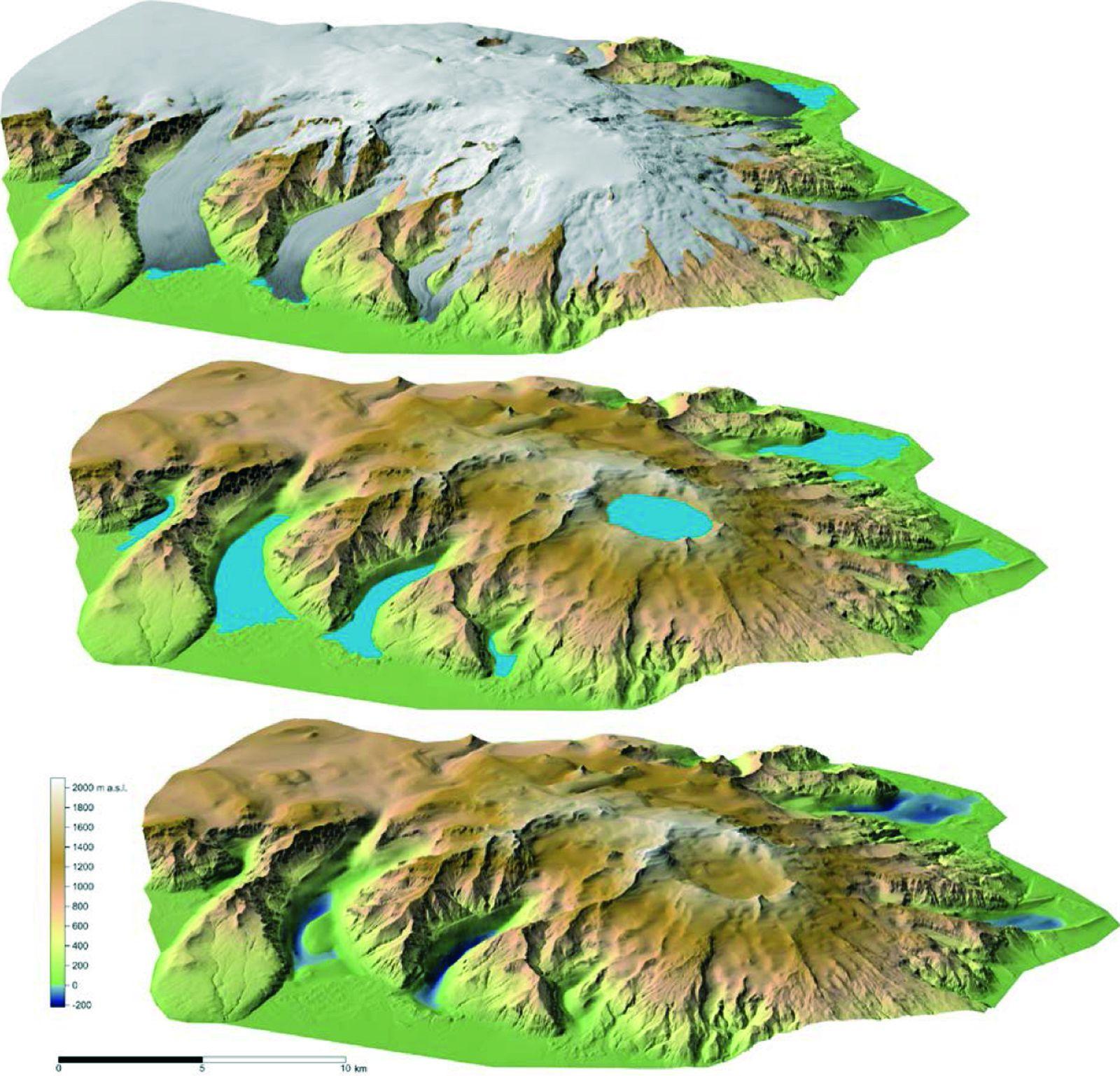 Vue en perspective du SSO de la calotte glaciaire de l'Öraefajökull (au dessus) et du substrat rocheux (dessous). Au centre, le remplacement de la calotte glaciaire par des lacs dans de larges dépressions. - doc. Removing the ice cap of Öræfajökull central volcano, SE-Iceland: Mapping and interpretation of bedrock topography, ice volumes, subglacial troughs and implications for hazards assessments Eyjólfur Magnússon, Finnur Pálsson , Helgi Björnsson and Snævarr Guðmundsson  - 2014