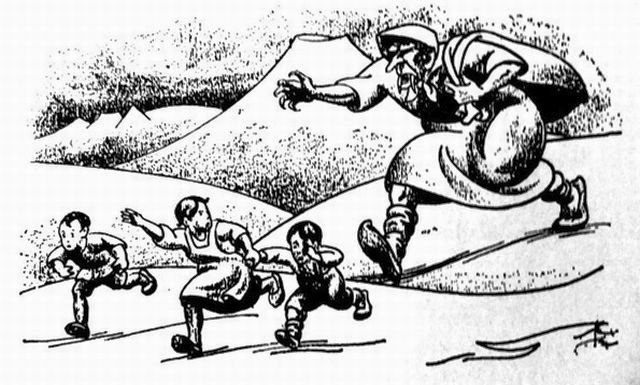 The giant Grila tries to catch the children in a bag. - Tryggvi Magnusson, 1932