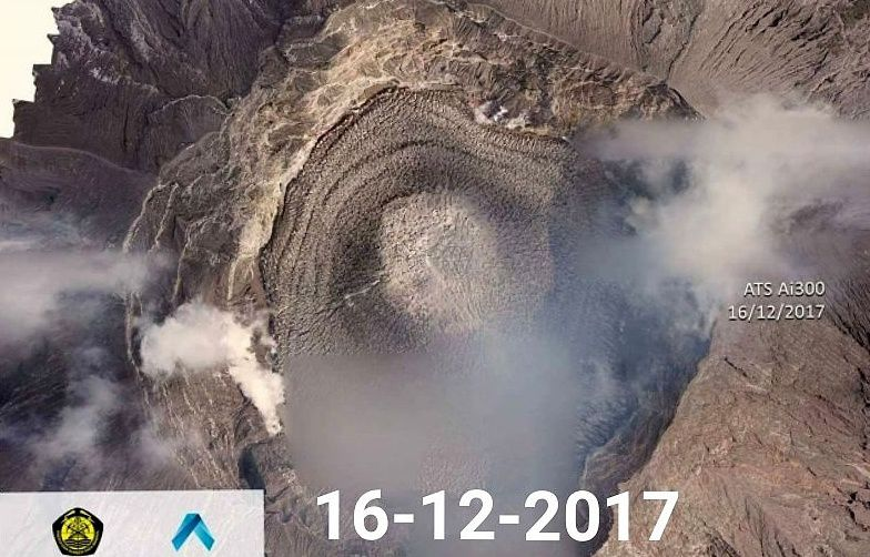 Agung - zenith view from 16.12.2017, via drone ATS Ai300 - courtesy of id magma, of the KementerianESDM, GeologiBadan vulkanologi mbg