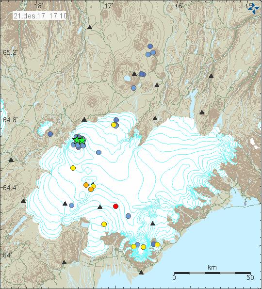 Séismes sous le  Bárðarbunga  - doc. IMO 21.12.2017 / 17h10 GMT