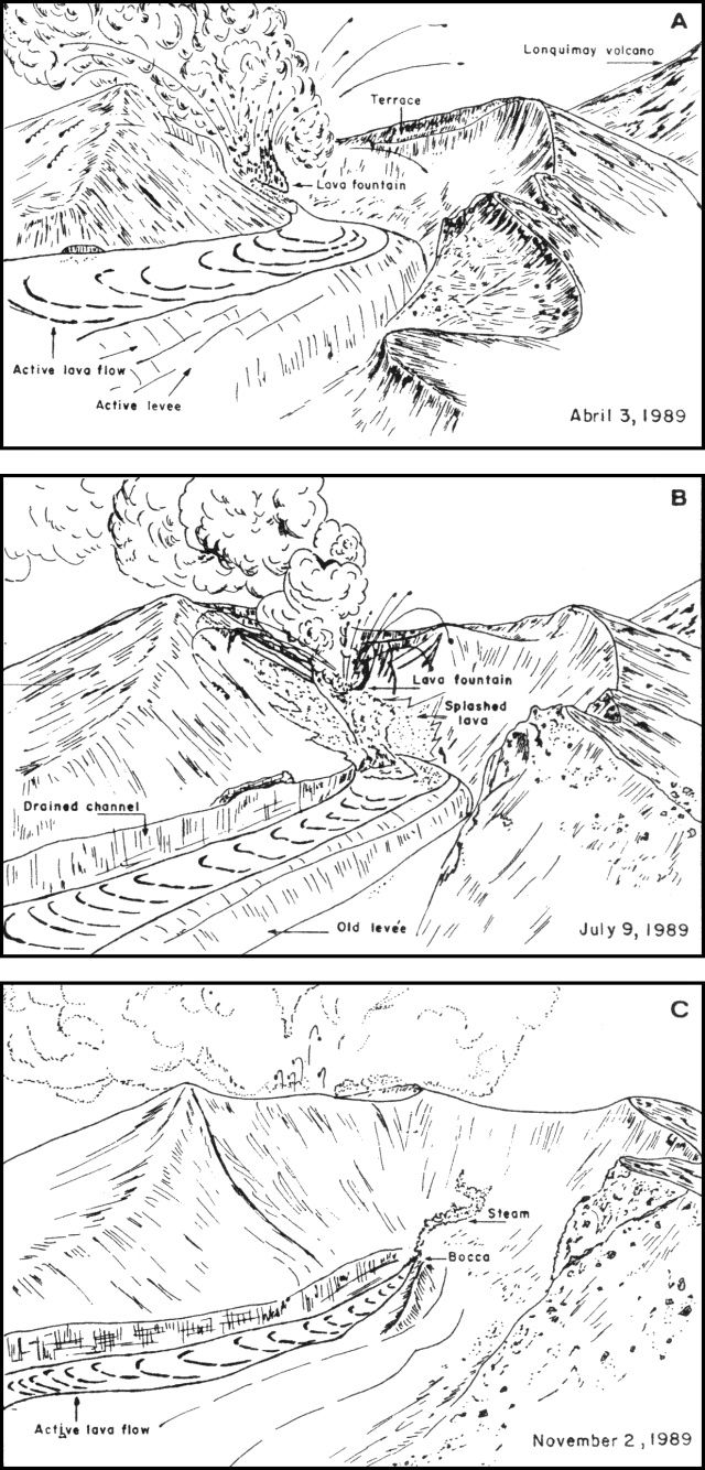 Eruption of the cone Navidad / Lonquimay - effusive activity between April and November 1989 - Courtesy of J. Naranjo / GVP