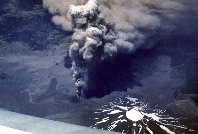 Lonquimay and the cone Navidad in eruption - Jeffrey Post, 1988 (Smithsonian Institution) in GVP