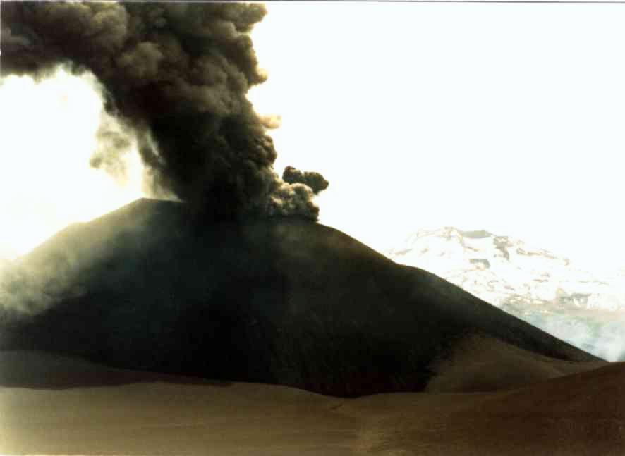 Eruption du cône Navidad / Lonquimay - photo  M.Winge 1989