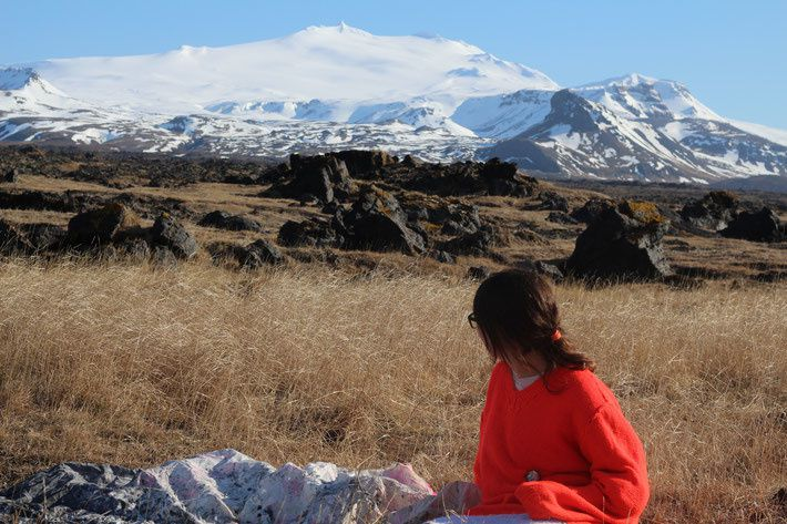 Anne Herzog in front of the Snaefellsjökull - photo of the artist's website