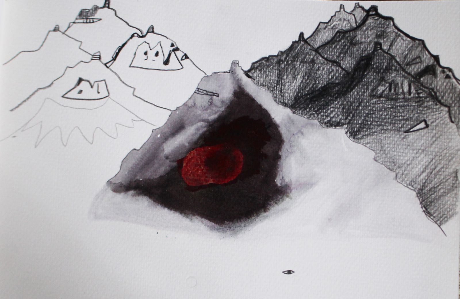 The Stapafell volcano, in (the peninsula of) Snaefellsnes, near Arnastapi - pencil on paper - artwork by Anne Herzog