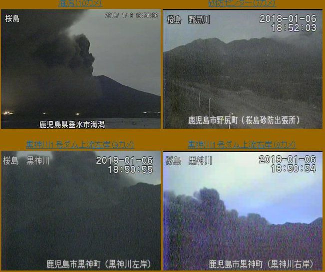 Sakurajima - 06.01.2018 / 18h50 - 18h52 - JMA webcams