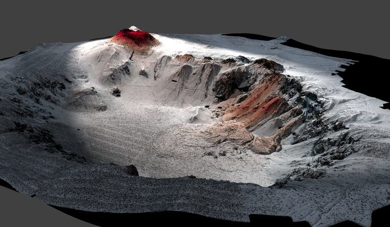 Vue 3D de la caldeira sous-marine du seamount Havre et vue d'artiste, avec les laves de 2012 en rouge  / doc. in The largest deep-ocean silicic volcanic eruption of the past century, by Rebecca Carey & al. 2018 et University of Tasmania