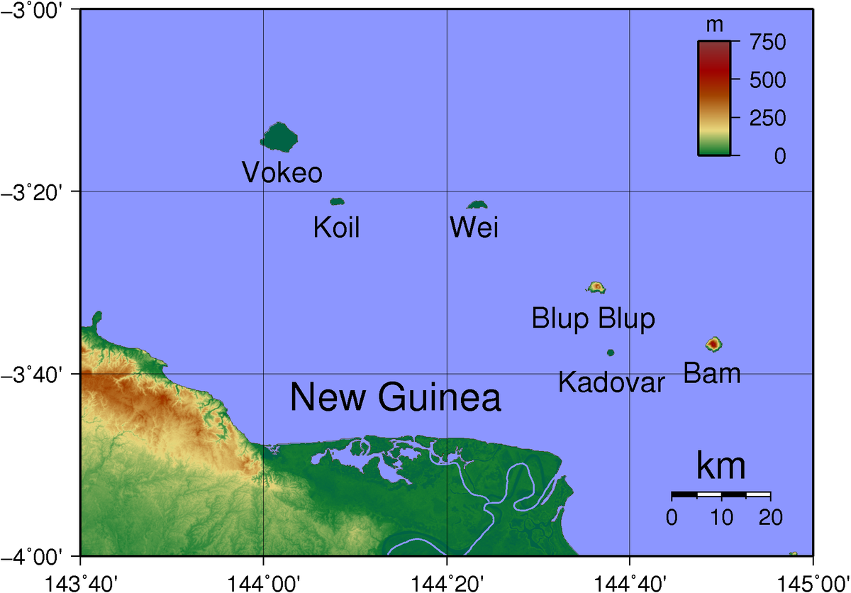 Three of the Schouten Islands are affected by evacuations: Kadovar, Ruprup / Blupblup, and Bam / Biem