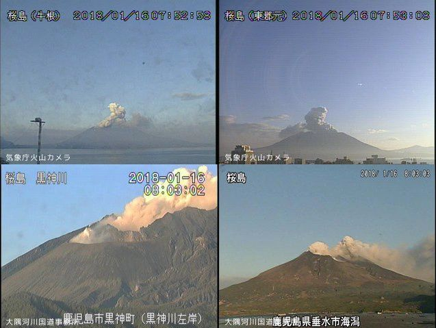 Activity and dispersion of the ashes of Sakurajima this 16.01.2018