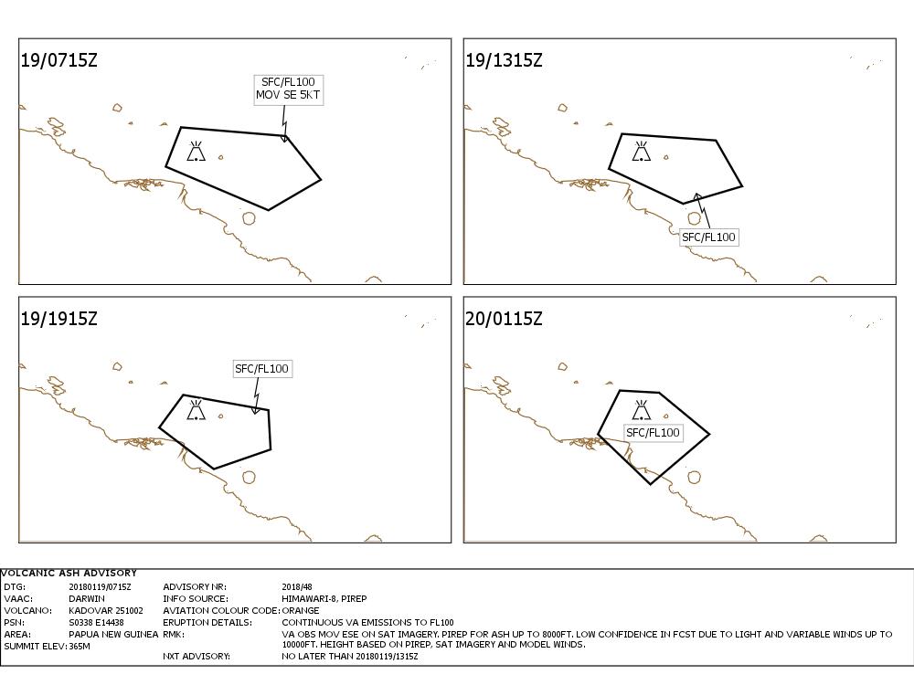 Kadovar - Volcanic Ash Advisory 19.01.2018 / 7:15 am - VAAC Darwin IDD65305