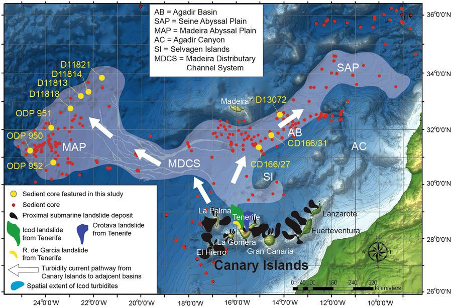 Map of the Canary Islands and the Moroccan Turbidite System. Canary Islands debris avalanche deposits shown in black, while Icod deposit is in dark green, the Orotava deposit in dark blue, Roques de Garcia in red, and Cumbre Neuva in yellow. Pale overlay signifies the spatial distribution of the sediment gravity flow deposits associated with the Icod landslide from Northern Tenerife. Sediment core locations are shown as red circles, while cores referenced in this contribution are in yellow and labelled (including ODP Sites 950, 951 and 952). Abbreviations are: AC=Agadir Canyon, AB=Agadir Basin, MAP=Madeira Abyssal Plain, SAP=Seine Abyssal Plain, MDCS=Madeira Distributary Channels, and CBR=Casablanca Ridge. Canary Islands landslides Icod (brown), Orotava (purple) and Rogues de Garcia (red) from Tenerife and Cumbre Nueva (grey). May also shows the area extent of the turbidites associated with the Icod landslide. Map was generated usingArcGIS10.1 software based upon bathymetric and digital elevation data fromGEBCO. - Doc. Multi-stage volcanic island flank collapses with coeval explosive caldera-forming eruptions – Jaames E.Hunt & al.