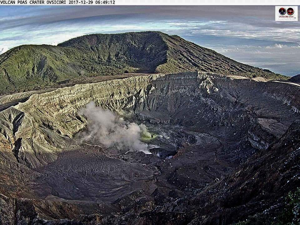 Poas - for comparison, the crater on 29.12.2017 and 01.01.2018 - Ovsicori webcam