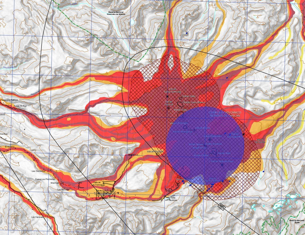 Complex Nevados de Chillan - new risk map, with blue 4 km restriction zone - doc. SERNAGEOMIN