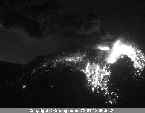 Nevados of Chillan - explosion of 23.01.2018 / 5h50 - doc.Sernageomin via Volcanes de Chile