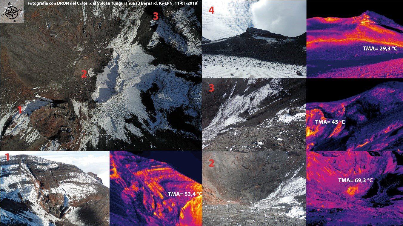Tungurahua – analyse des images thermiques: 1. paroi interne sud – 2.fond du cratère – 3. paroi interne nord – 4. zone de fumerolles du cratère externe – Doc. IGEPN / photos B.Bernard 11.01.2018