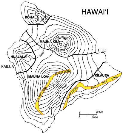 Hawaii / big island - situation des volcans et des rift zones