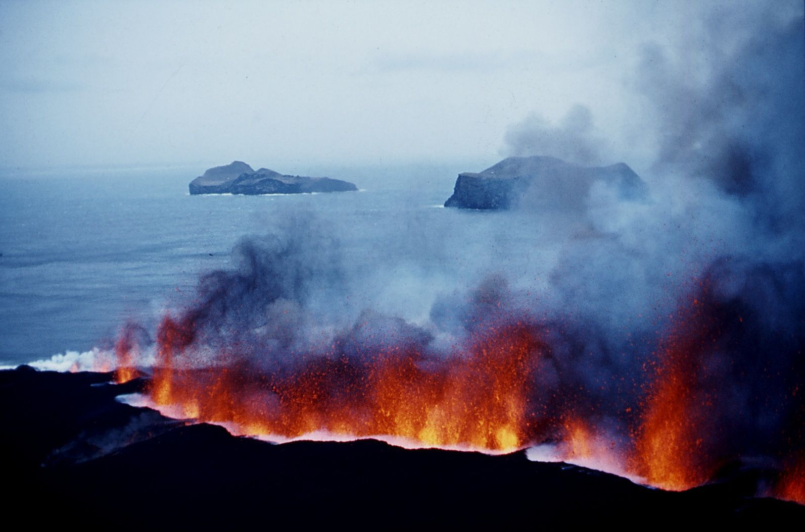 The fissure eruption on the eastern flank of Helgafell in 1973 - Eldheimar museum doc