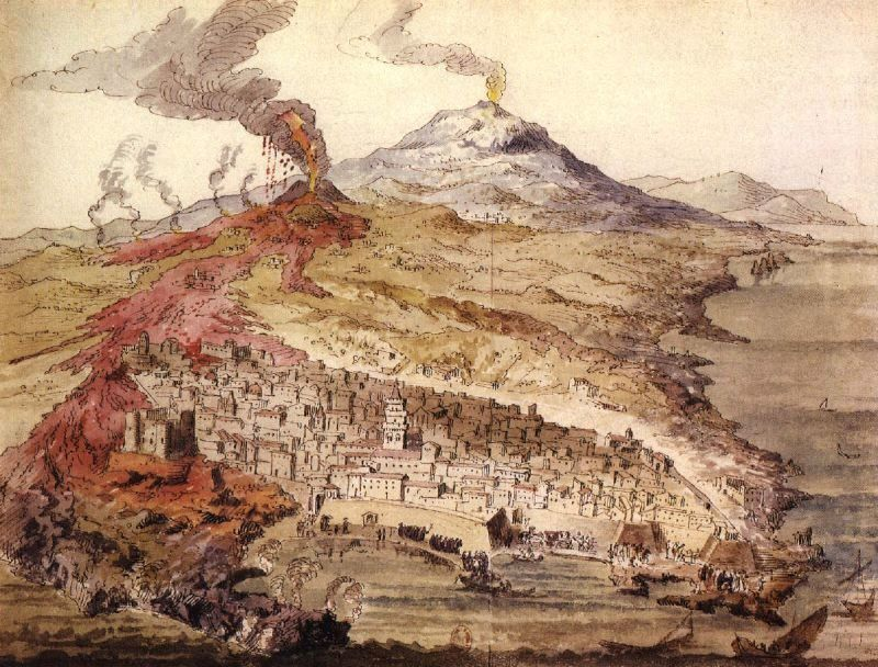 Reproduction of a fresco in the cathedral of Catania, showing the eruption of Etna in 1669 whose lava flow has caused extensive damage in Catania and destroyed many villages. - one click to enlarge - This drawing shows the main crater of the eruption near Nicolosi in vigorous explosive eruption and the lava flows extending from it (in red color) to Catania. In the lower left, the Castello Ursino is surrounded by lava. North of the city, one can also see the lava flow still eroded a few centuries earlier (perhaps in 1381) from a crack near the village of Mascalucia, which entered the sea in Ognina, today a densely populated part of Catania.