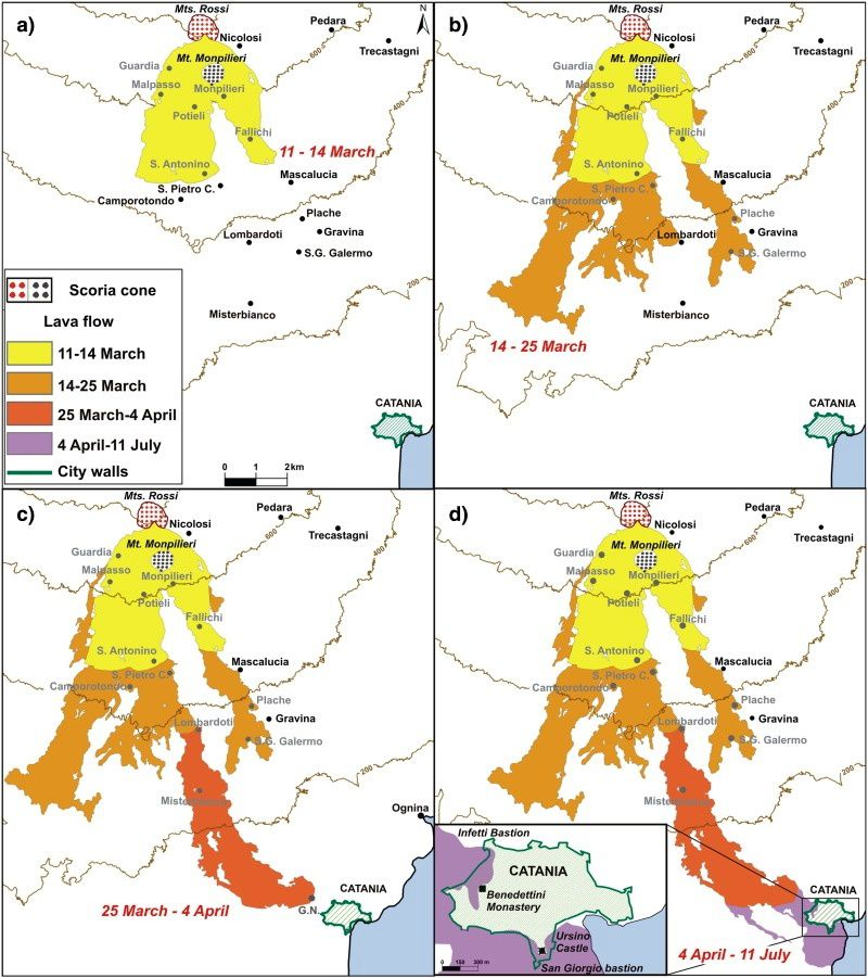 Etna eruption of 1669 - Progression of lava flows between March 11 and July 11 - doc in Impacts of the 1669 eruption and the 1693 earthquakes on the Etna Region / S.Branca