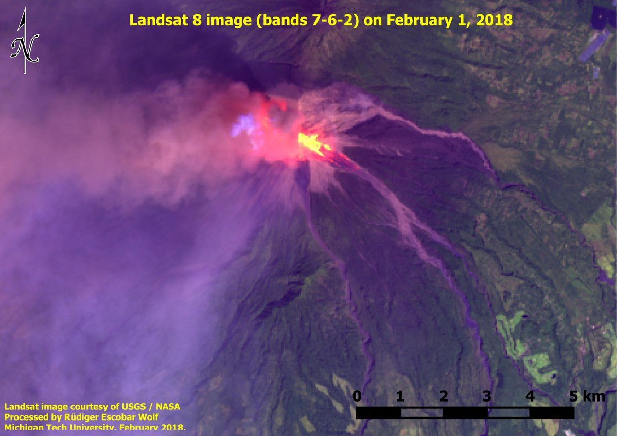 Fuego - summit incandescence and deposits of pyroclastic flows in different drainages 01.02.2018 - Landsat image 8 SWIR bands 7-6-2- Nasa via Rüdiger Escobar Wolf