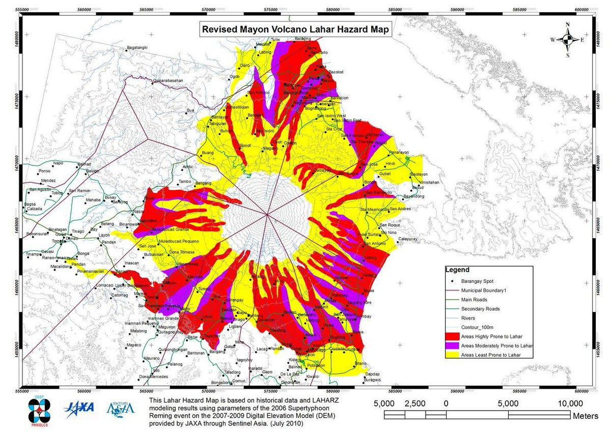 Mayon - updated map of lahar risk areas - Doc.Phivolcs