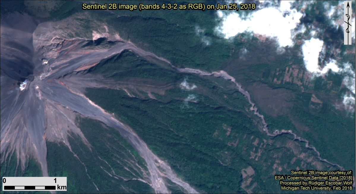 Fuego - Sentinel 2B images from 25.01.2018 and 04.02.2018 / Bands 4-3-2 - Courtesy of Rüdiger Escobar Wolf