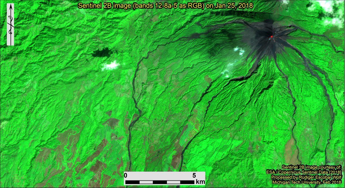 Fuego - Sentinel 2B images of 25.01.2018 and 04.02.2018 / bands 12-8a-5; the comparison shows the areas covered with ash by the eruption - Courtesy of Rüdiger Escobar Wolf