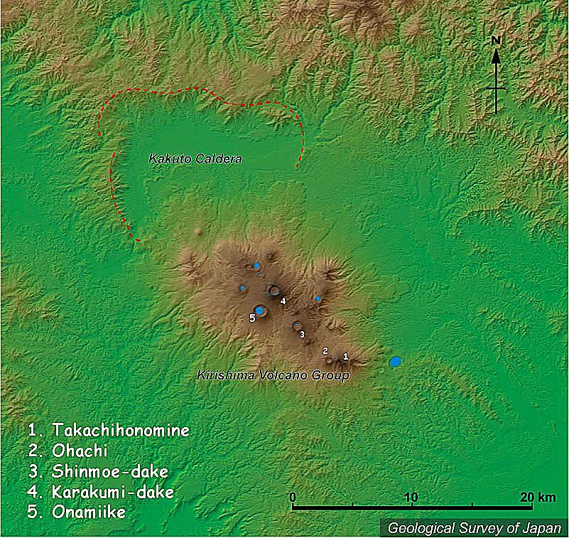Kirishimayama volcanic group - Ohachi crater is number 2 - doc. after GSJ