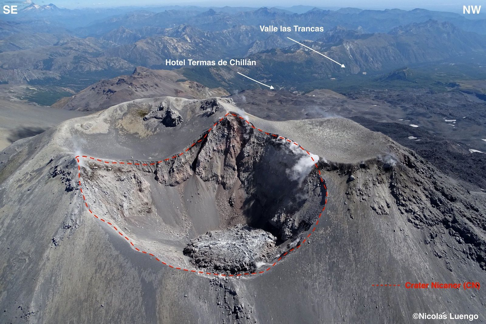 The summit of the Nevados complex of Chillan, with the dome of Nicanor - photo Nicolas Luengo / vulcanology in Chile