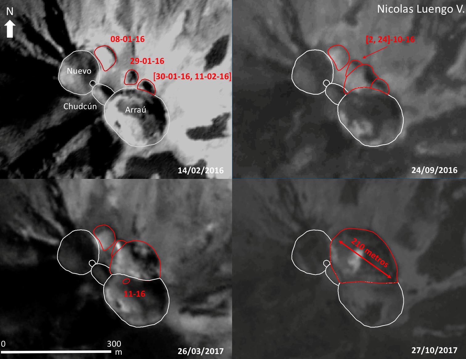 Nevados de Chillan complex - formation of the Nicanor crater between January 2016 and October 2017 - Doc. Volcanologia in Chile