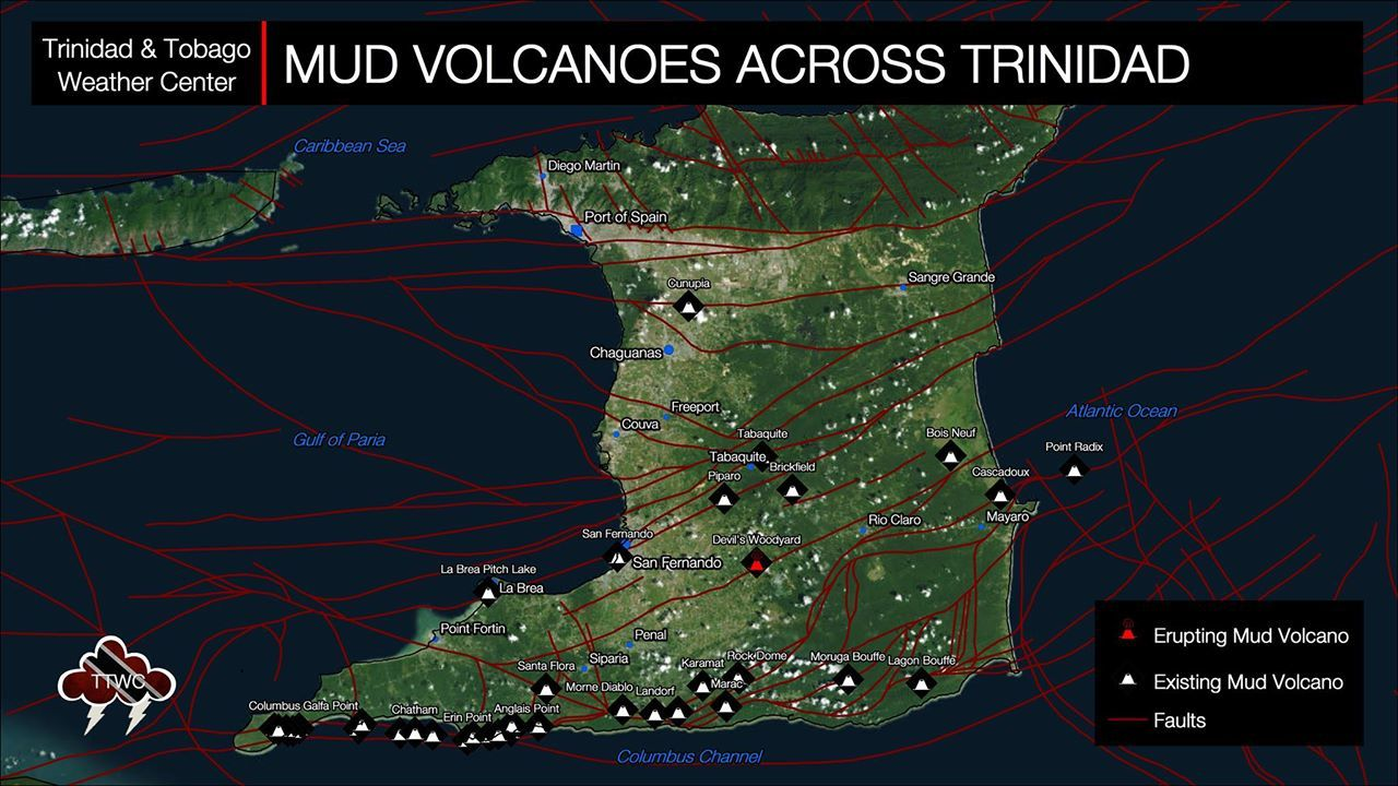 Trinidad - Locations of known mud volcanoes across Trinidad. - Doc. TRINIDAD AND TOBAGO WEATHER CENTER