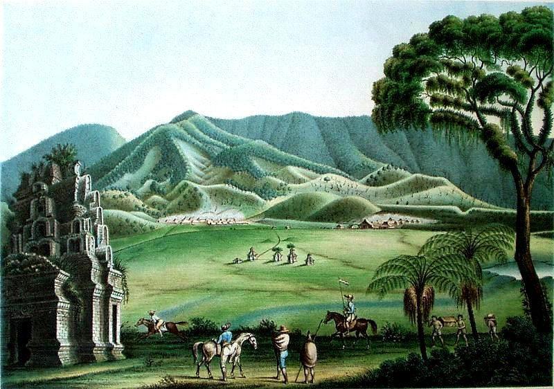The Dieng Plateau - F.W. Junghuhn - Doc.Java Album - Amoldische Buchhandlung 1856